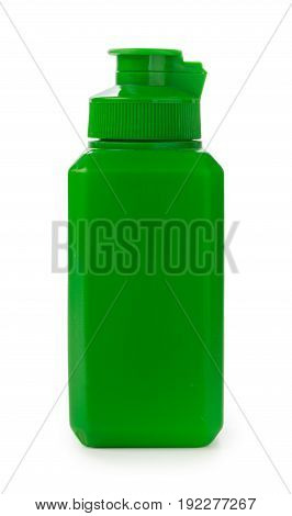Medical liquid antiseptic in a green container. Side view isolated on white.