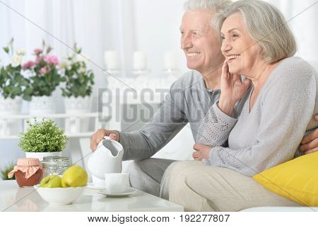 Happy senior couple drinking tea at kitchen