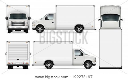 Van template for car branding and advertising. Isolated freight delivery truck set on white background. All layers and groups well organized for easy editing and recolor. View from side front back top.