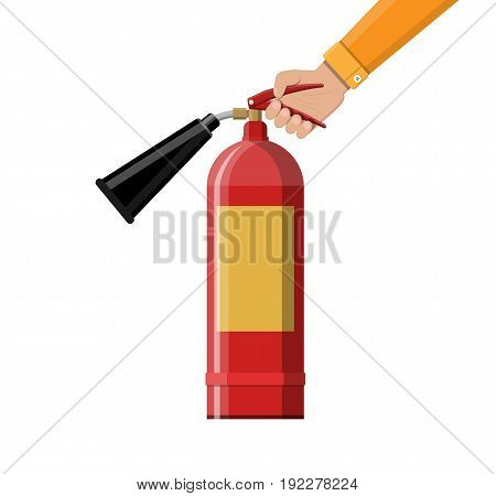 Fire extinguisher in hand. Fire equipment. Vector illustration in flat style