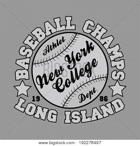 T-shirt baseball new york collegelong island design for sportswear apparel.