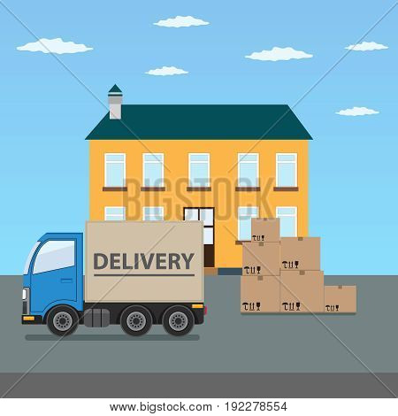 Delivery truck with cardboard boxes near house. Fast delivery concept vector illustration.
