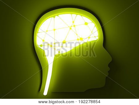 Silhouette of a man's head. Mental health relative brochure, report design template. Scientific medical designs. Connected lines with dots. 3D rendering. Neon illumination