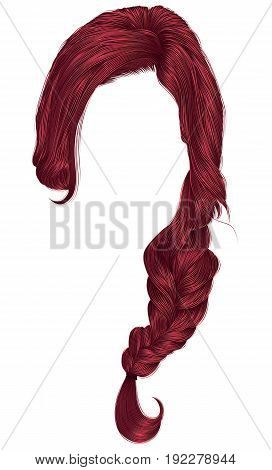 trendy women hairs Red colour . plait .  fashion beauty style .
