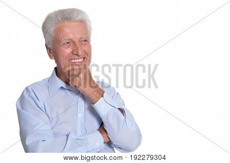 Portrait of handsome senior man isolated on white  background