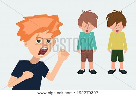 aggressive child in the background of crying children - funny cartoon vector illustration