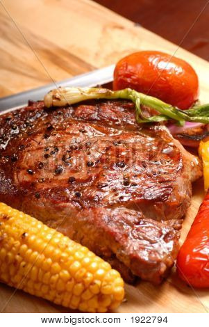 Grilled Ribeye Steak With Roasted Vegetables