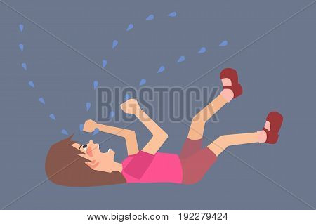 hysterical child  on the floor - funny vector cartoon illustration