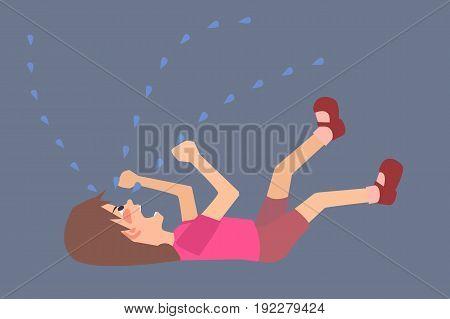 hysterical child  on the floor - funny vector cartoon illustration