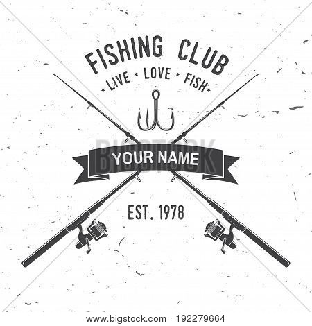 Fishing club. Live, love, fish. Vector illustration. Concept for shirt or logo, print, stamp or tee. Vintage typography design with fish rod and hook silhouette.