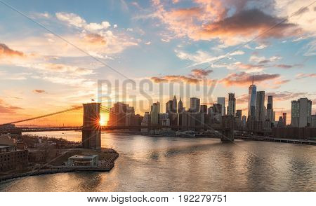 Beautiful view of New York City skyline at sunset