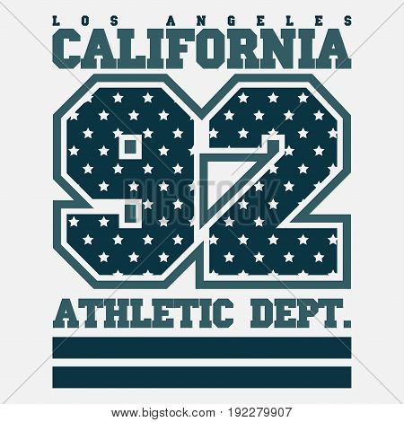 Los Angeles CA fashion Typography sport emblem design Number with floral ornament graphic Print label