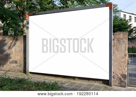 Blank Ad Space Sign Isolated In The Street