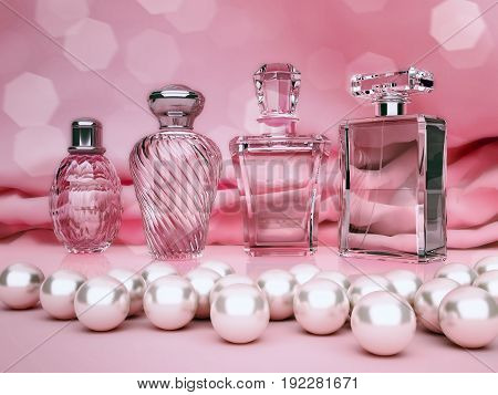 Pearls and different bottles of perfume on pink background. 3D illustration