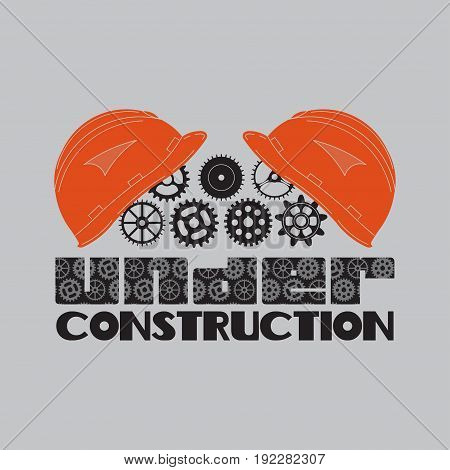 icon under construction helmet gears technological mechanisms fully editable image