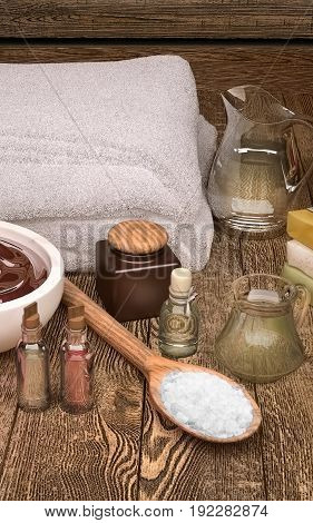 Spa still life with soft spa towels seasalt and spa products. 3D illustration