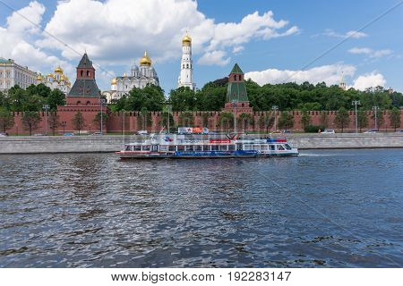 RUSSIA, MOSCOW, JUNE 8, 2017  View of embankments Kremlin Towers in Moscow