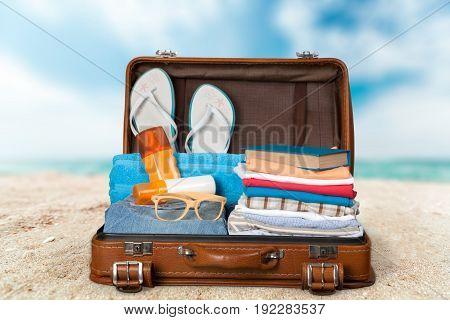 Objects travel retro case suitcase leisure bag