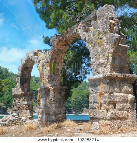 Ancient ruins of the ancient city of Phaselis