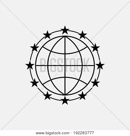 icon stars around the earth selected peace fully editable image