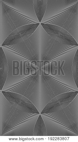 Abstract vector seamless op art pattern. Black and white moire ornament.