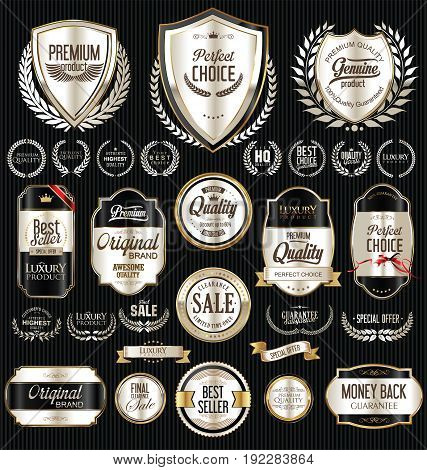 Premium And Luxury Silver And Black Retro Badges And Labels Collection 3.eps