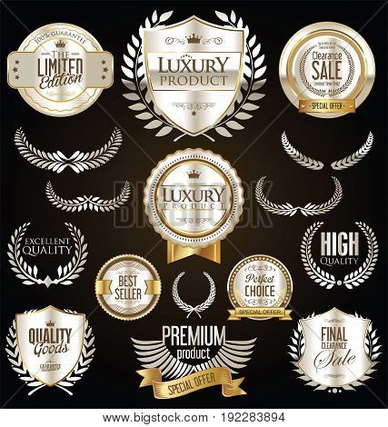 Premium And Luxury Silver And Black Retro Badges And Labels Collection 2.eps