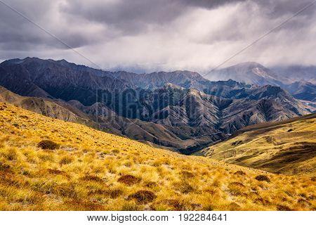 Mountain Range Near Queenstown, New Zealand