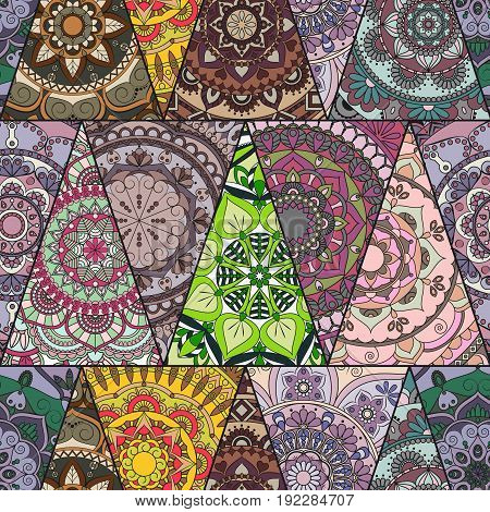 Seamless Mandalas Pattern. Vintage Decorative Elements With Mandala. Hand Drawn Mandala Background.