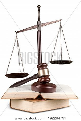 Justice books scales background isolated closeup