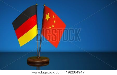 Germany and China desk flags commerce and trading relations concept 3D illustration.