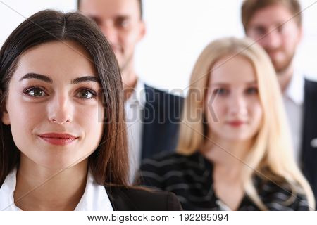 Group of business people women and men businessman and businesswoman successful and satisfied gathered together education receiving congratulations sincerely diploma courses qualification