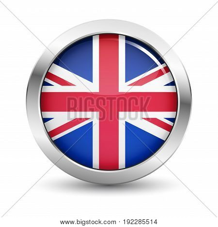 UK icon silver glossy badge button with British flag and shadow vector EPS 10 illustration on white background.