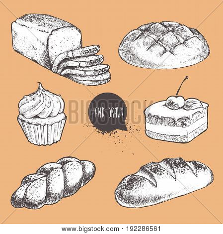 Vintage hand drawn sketch style fresh bakery set. Bread sliced bread bun loaf cake with cherry and cream cupcake.