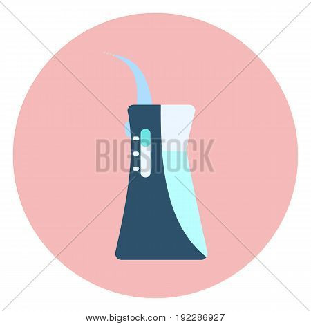 Flat Blue Oral Irrigator Icon, Water Flosser