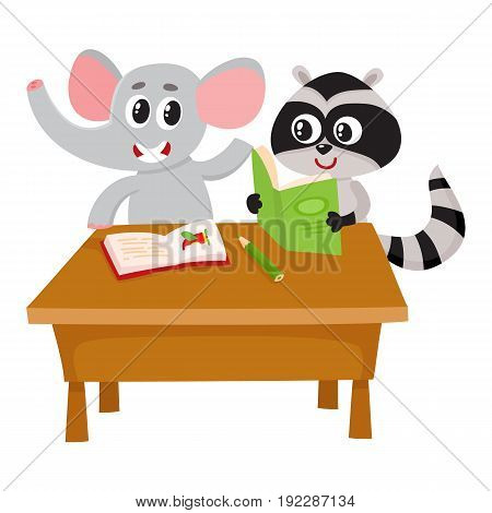Cute elephant and raccoon student characters sitting at school desk, reading, cartoon vector illustration isolated on white background. Little elephant and raccoon students, back to school concept