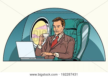 businessman working in the business class cabin. Aviation and travel. Pop art retro vector illustration