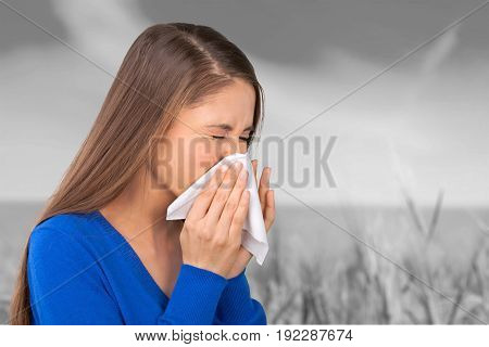 Young nose woman scratching her background beautiful