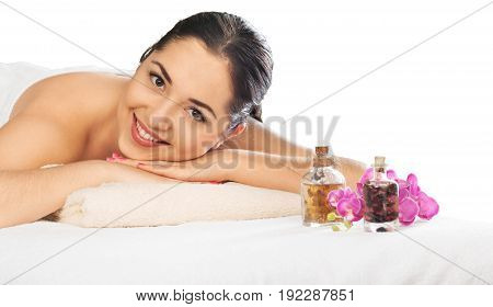 Woman salon spa relaxing white ball isolated