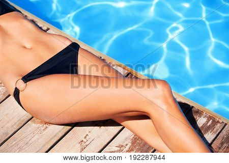 Pool woman swimming young adult color young people