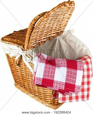 Red basket picnic wicker gingham color group