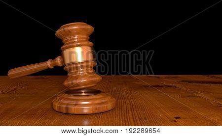 3D illustration of a Judge gavel on dark background