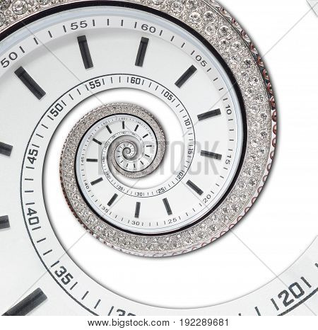 Isolated on white futuristic modern white clock watch abstract fractal surreal spiral. Watch clock unusual abstract texture pattern fractal background. Modern stylish abstract fractal spiral clock