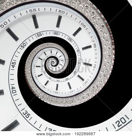 Isolated on black futuristic modern white clock watch abstract fractal surreal spiral. Watch clock unusual abstract texture pattern fractal background. Modern stylish abstract fractal spiral clock