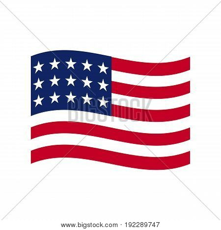 Vector illustration of the USA flag schematic view on white background.