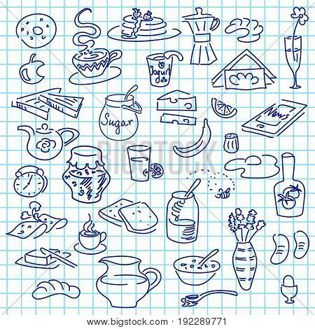 Morning breakfast sketch doodle vector set on note paper. Bread butter snack food milk toast jam cereal coffee croissant donut drink sugar tea egg. For menu cafe restaurant stickers
