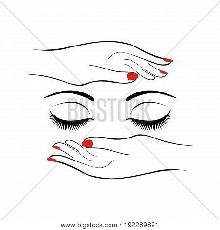 Fashion or health care concept. Female hands with red manicure protect women eyes with long lashes. Vector illustration.