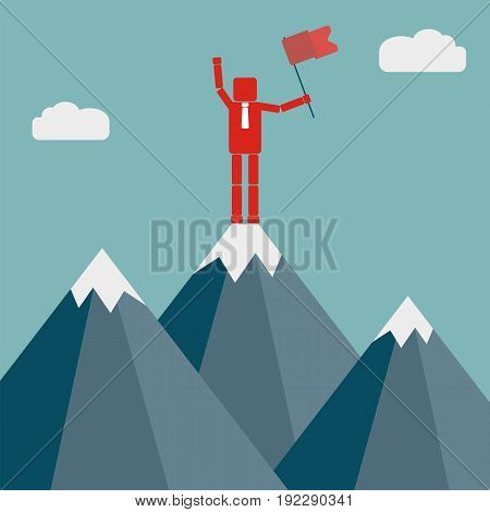 Success leadership achievement and people concept. Businessman with flag on mountain top. Vector illustration.