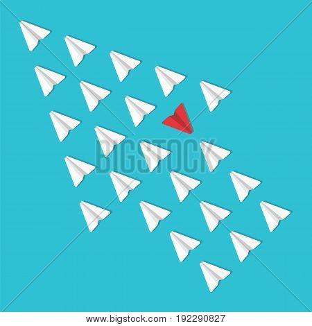 Business opposition concept. Red paper airplane flying in the opposite direction. Vector illustration.