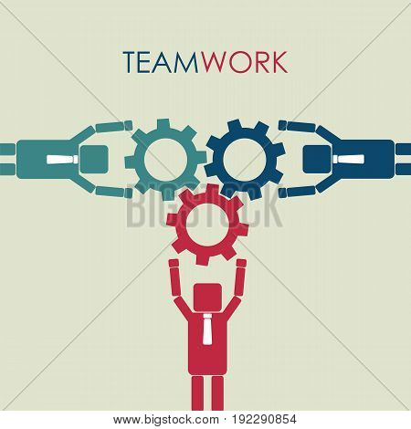 Teamwork concept. Integration and partnership concept with connection of gear. Vector illustration.